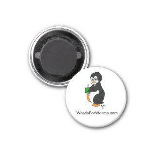 Round Magnet Featuring Reading Penguin