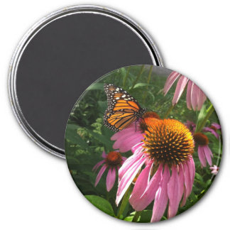 Round Magnet - Monarch Butterfly on Coneflowers