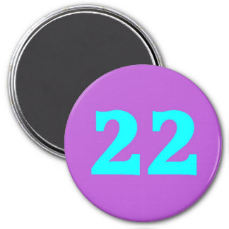 Round Magnet – Number 22 – Turquoise / Violet