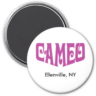 Round Magnet with Pink Cameo logo