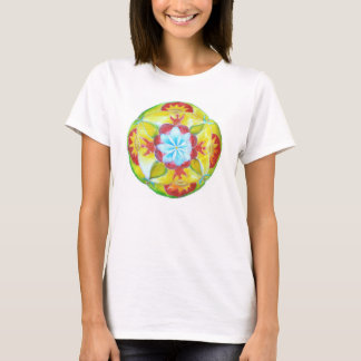 Round Mandala, Blue flower, peace , Unity T-Shirt