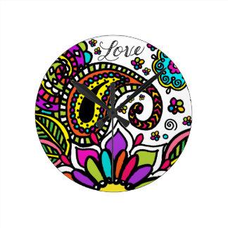 Round Medium Wall Clock Love Bold Flower Paisley