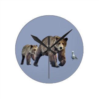 Round (Medium) Wall Clock w/ grizzly bear and cub