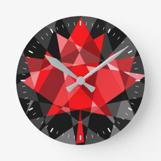 Round medium wall clock with abstract maple leaf