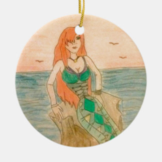 Round mermaid ornament