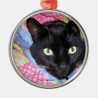 Round Metal Ornament: Funny Cat in Blankets Christmas Ornament
