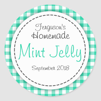 Round Mint Jelly green jam jar top food label
