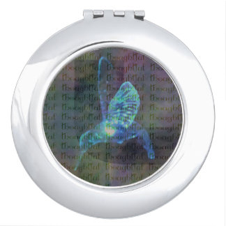 Round mirror with beautiful motive for bird compact mirrors