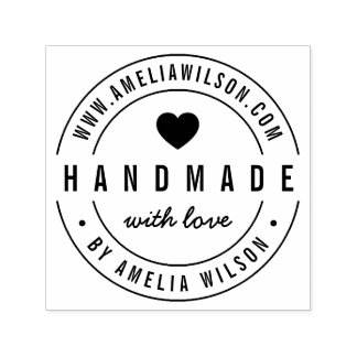 Round Modern Bold Website Handmade With Love Heart Self-inking Stamp