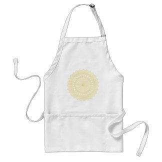 Round motif in cream color. standard apron