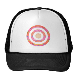 Round n Oval Pink Stained Glass Pattern Trucker Hats