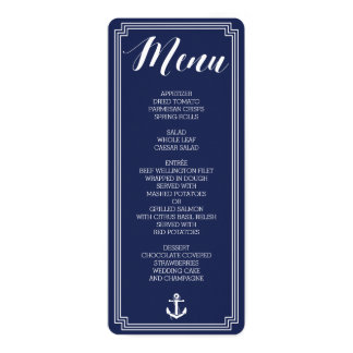 Round Nautical Wedding Menu With Frame Card