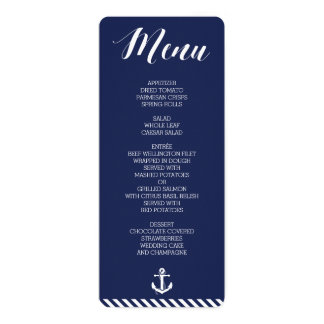 Round Nautical Wedding Menu With Stripes Card