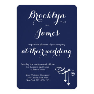 Round Navy Blue Wedding Invitations Hearts