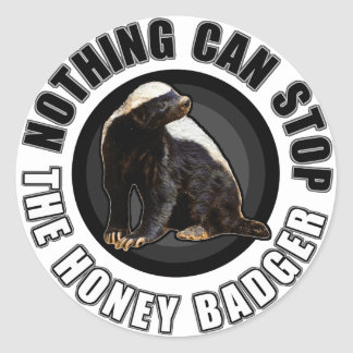 Round Nothing Can STOP the Honey Badger Design Round Sticker