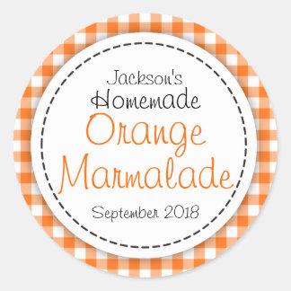 Round Orange Marmalade jam jar food label Stickers