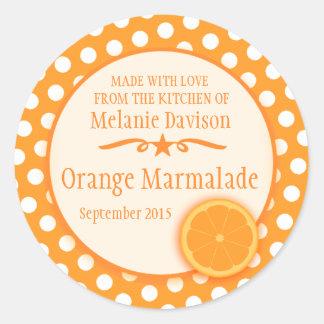 Round orange marmalade preserve gift stickers