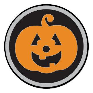 Round orange pumpkin Halloween party invitations