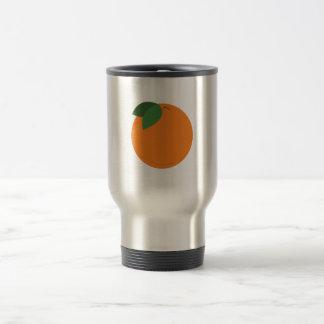 Round Orange Stainless Steel Travel Mug