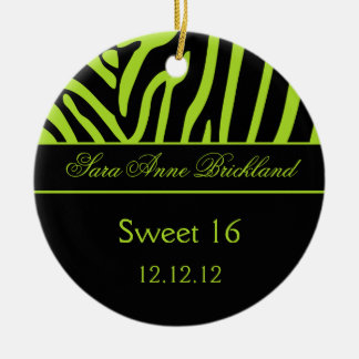Round Ornament Lime Black Zebra Sweet 16