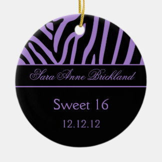 Round Ornament Purple Black Zebra Sweet 16
