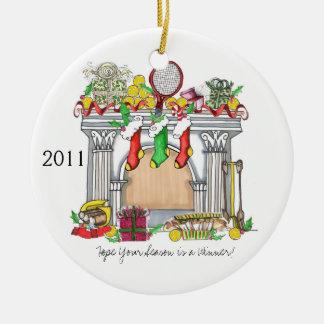 Round Ornament, Tennis Mantel, 2011 Christmas Ornament