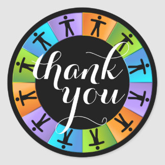 Round People Teamwork Wheel Thank You Sticker