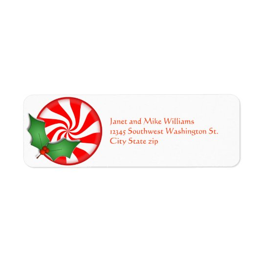 Round Peppermint Candy  Holly Sprig Personalised Return Address Label