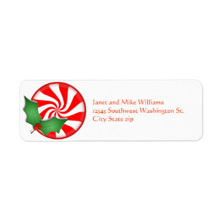 Round Peppermint Candy  Holly Sprig Personalized Return Address Label