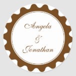 Round petal brown wedding favour name tag label stickers