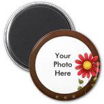 Round photo magnet