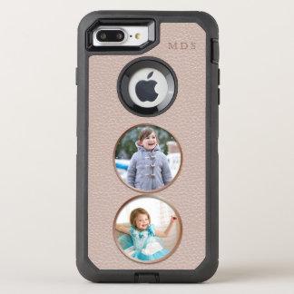Round Photo OtterBox Faux Pink Leather Monogram OtterBox Defender iPhone 8 Plus/7 Plus Case