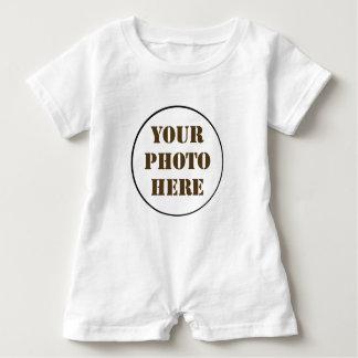 ROUND photo personalized WHITE baby romper Baby Bodysuit