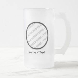 Round Photo & Text Frosted Stein - Create Your Own