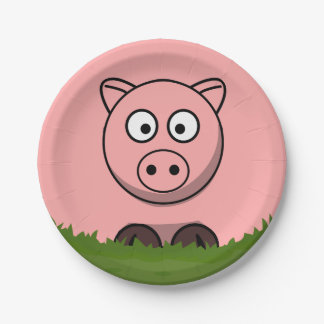 Round Pig 7 Inch Paper Plate