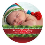 Round Pine & Lace Christmas Holiday Photo Card 13 Cm X 13 Cm Square Invitation Card
