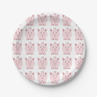 Round Pink Pig Pattern 7 Inch Paper Plate