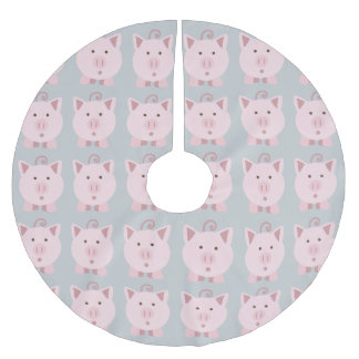 Round Pink Pig Pattern Brushed Polyester Tree Skirt