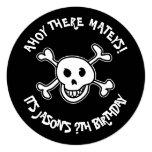 Round pirate skull Birthday party invitations