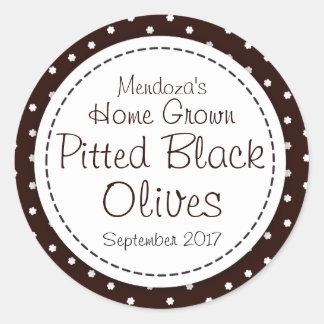 Round pitted black olives jam jar food label