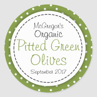 Round pitted green olives jam jar food label