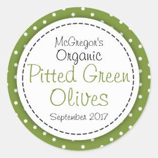 Round pitted green olives jam jar food label round sticker