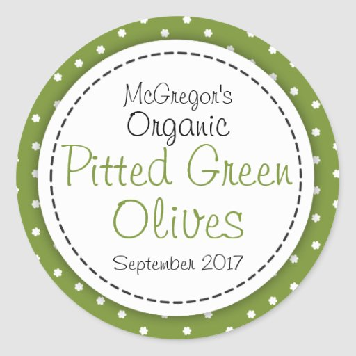 Round pitted green olives jam jar food label sticker