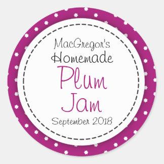 Round plum preserve or jam jar food label round sticker