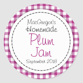 Round plum preserve or jam jar food label stickers
