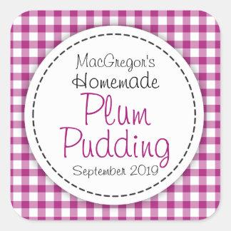 Round plum pudding preserve or jam jar food label