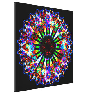 Round Psychedelic Mandala Canvas Print