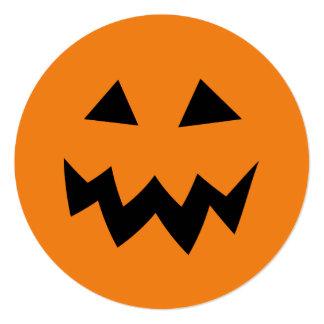 Round pumpkin Halloween Birthday party invitations