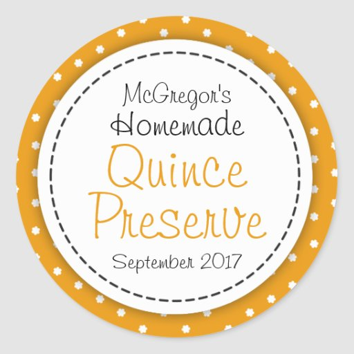 Round Quince preserve or jam jar food label Stickers