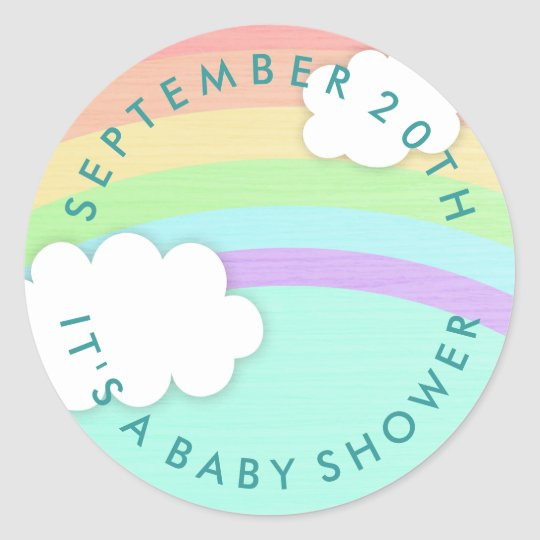 Round Rainbow Gender Neutral Baby Shower Stickers